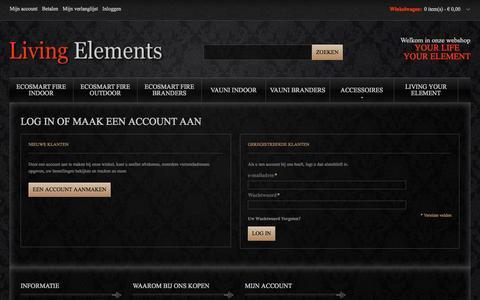Screenshot of Login Page living-elements.nl - Klant Login Living Elements - captured Sept. 30, 2014