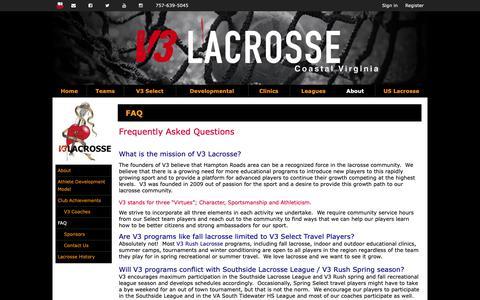 Screenshot of FAQ Page v3lax.com - FAQ | V3 Lacrosse | Coastal VA - captured Nov. 15, 2018