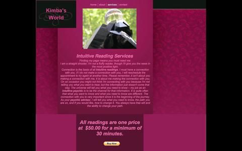 Screenshot of Services Page kimbasworld.com - Intuitive Readings | Contact Our Psychic Advisor Today - captured Sept. 30, 2014