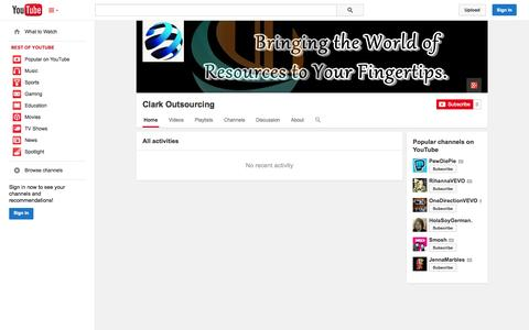 Screenshot of YouTube Page youtube.com - Clark Outsourcing  - YouTube - captured Oct. 28, 2014