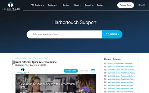 Screenshot of Support Page harbortouch.com - Nurit Gift Card Quick Reference Guide : Harbortouch Support Center - captured Oct. 9, 2018