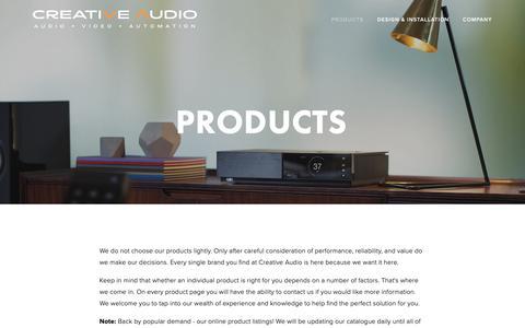 Screenshot of Products Page creativeaudio.ca - Products — Creative Audio in Winnipeg - captured Nov. 5, 2018