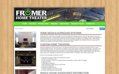 Screenshot of Services Page fromerht.com - Services   Fromer Home Theater - captured Oct. 1, 2014