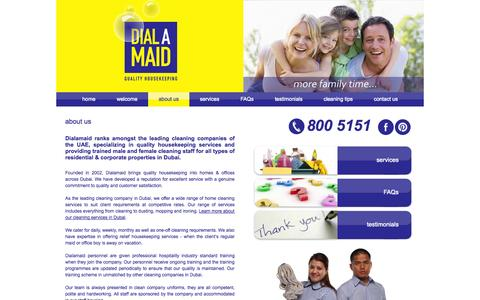 Screenshot of About Page dialamaid.ae - Cleaning Company in Dubai UAE, Dialamaid is One of The Leading Housekeeping Company - captured Sept. 30, 2014
