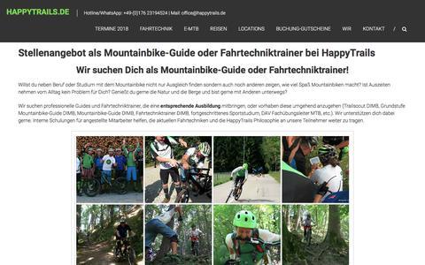 Screenshot of Jobs Page happytrails.de - Stellenangebot als Mountainbike-Guide Fahrtechniktrainer bei HappyTrails | HappyTrails.de - captured May 4, 2018