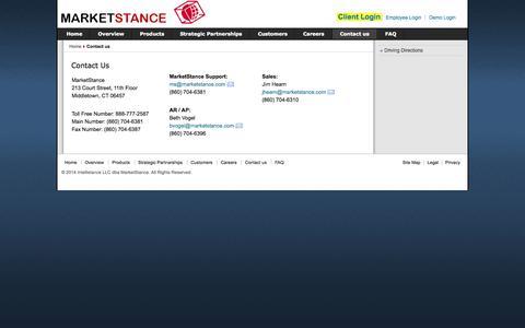 Screenshot of Contact Page marketstance.com - Contact Us - captured Oct. 27, 2014