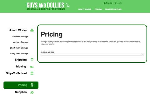 Screenshot of Pricing Page guysanddollies.com - Pricing - Storage And Shipping For Students - Guys and Dollies - captured Sept. 30, 2018