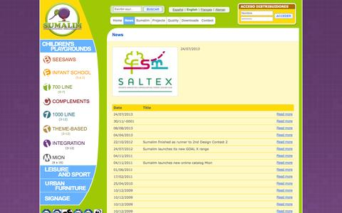Screenshot of Press Page sumalim.com - SUMALIM : Fabricante de Parques Infantiles, Mobiliario Urbano, Señalitica ... - captured Oct. 7, 2014