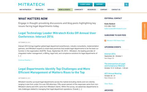 Screenshot of Press Page mitratech.com - News - Mitratech - captured Oct. 2, 2014
