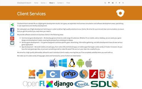 Screenshot of Services Page clockworkacorn.com - Client Services - Clockwork Acorn - captured Dec. 9, 2015