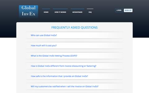Screenshot of FAQ Page globalinvex.com - FAQ   Global InvEx - captured Sept. 30, 2014