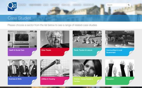 Screenshot of Case Studies Page qaresearch.co.uk - Case Studies | - captured July 12, 2016