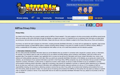 Screenshot of Privacy Page rifftrax.com - RiffTrax Privacy Policy | RiffTrax - captured Sept. 17, 2014