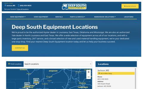 Screenshot of Locations Page deepsouthequipment.com - Material Handling Dealer | OK, LA, MS, TX | Deep South Equipment - captured Oct. 8, 2018