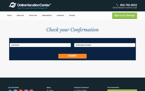 Screenshot of Login Page onlinevacationcenter.com - Online Vacation Center | Check your Itinerary - captured June 12, 2017