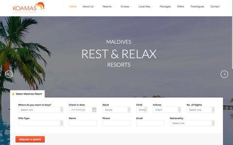 Screenshot of Home Page koamastravel.com - Maldives Resorts and Maldives Honeymoon Resorts by Koamas Luxury Escapes - captured Sept. 6, 2015