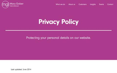 Screenshot of Privacy Page marygober.com - Privacy Policy - captured Oct. 17, 2017