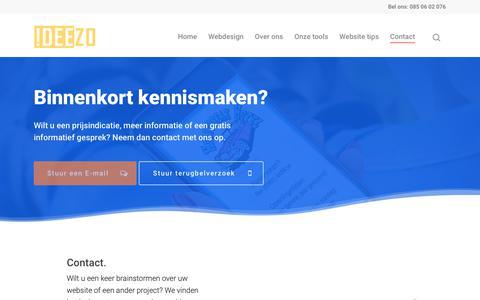 Screenshot of Contact Page ideezo.nl - Snel weten waar je aan toe bent? Neem contact op met Ideezo in Franeker - captured Nov. 6, 2018