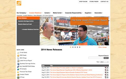 Screenshot of Press Page homedepot.com - The Home Depot, Inc. - 2014 News Releases - captured Sept. 19, 2014