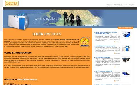 Screenshot of Home Page lolitamanufacturingworks.net - Printing Machines- Screen Printing Machines and Automatic Printing Machines - captured Sept. 30, 2014