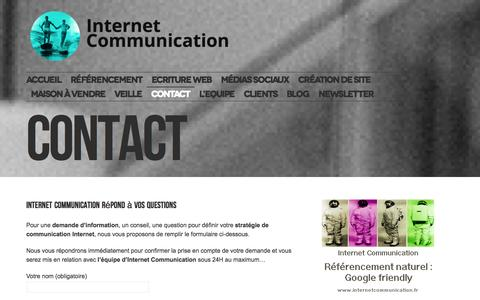 Screenshot of Contact Page internetcommunication.fr - Internet Communication, votre solution de visibilité web ! Contact Internet Communication - captured Sept. 25, 2014