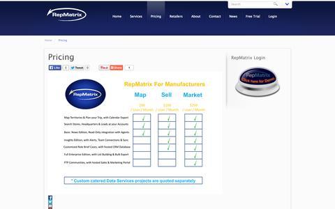 Screenshot of Pricing Page repmatrix.com - Pricing   - Repmatrix - captured Nov. 1, 2014
