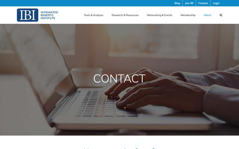 Screenshot of Contact Page ibiweb.org - Contact us. We'd love to hear from you. Here's how to get in touch. - captured Oct. 12, 2018