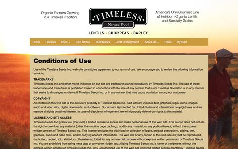 Screenshot of Terms Page timelessfood.com - Site Terms - Timeless Natural Food - captured Feb. 16, 2016