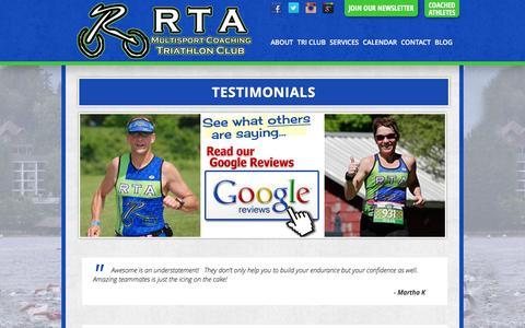 Screenshot of Testimonials Page ridgewoodtriathlete.com - Testimonials | Ridgewood Tri Athlete - captured Jan. 11, 2016