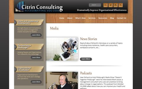 Screenshot of Press Page citrinconsulting.com - Media | Citrin Consulting - captured Sept. 29, 2014