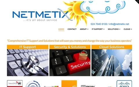 Screenshot of Home Page netmetix.net - IT Support Coventry, West Midlands | Business IT Services & IT Consultancy Birmingham - captured Sept. 4, 2015