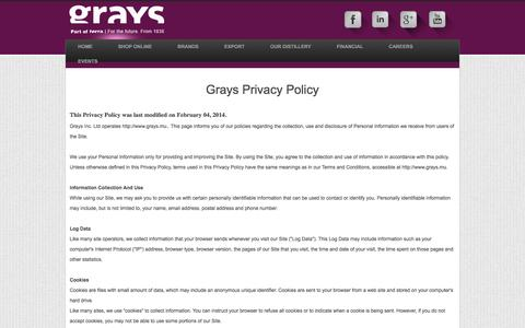 Screenshot of Privacy Page grays.mu - Privacy Policy | Grays Inc. Ltd. - captured Sept. 24, 2014