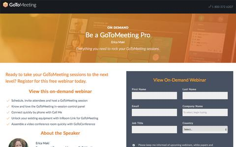 Screenshot of Landing Page gotomeeting.com - Be a GoToMeeting Pro - captured Jan. 18, 2018