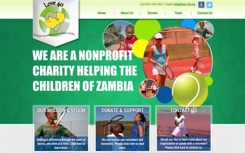 Screenshot of Home Page love-40.org - Love 40 - Sharing Our Love for Tennis with our Friends in Zambia - captured Sept. 23, 2015