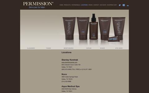 Screenshot of Locations Page permissionskincare.com - Permission - Skincare for Men - captured Oct. 4, 2016