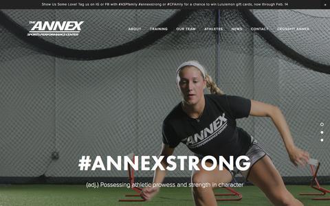 Screenshot of Home Page annexsportsperformance.com - The Annex Sports Performance Center - captured Feb. 6, 2016