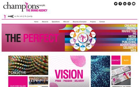 Screenshot of Home Page championsukplc.com - Digital Brand Marketing & Communications Agency | Champions - captured July 17, 2018