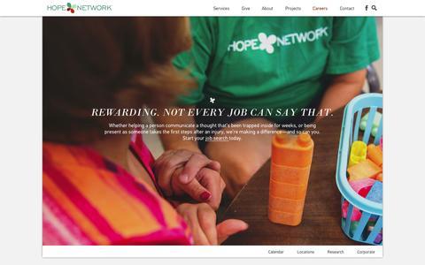 Screenshot of Jobs Page hopenetwork.org - Careers - Hope Network - captured Sept. 29, 2014