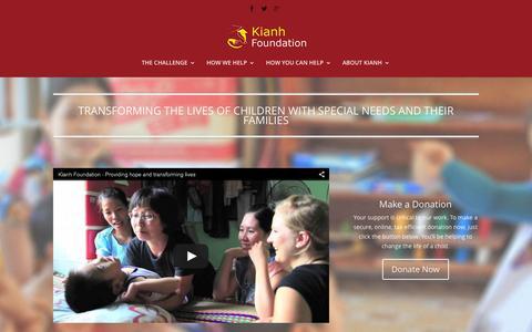 Screenshot of Home Page kianh.org.uk - Splash | The Kianh Foundation - captured Sept. 6, 2015