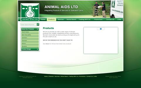 Screenshot of Products Page animalaids.com - Animal Aids Ltd - Integrating Products & Services for Specialist Farms - products - captured Nov. 6, 2018