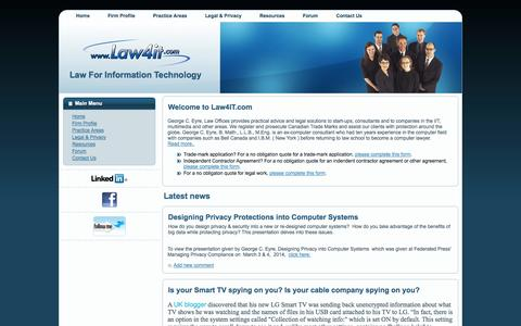 Screenshot of Home Page law4it.com - LAW4IT.COM - Law For Information Technology - captured Oct. 2, 2014