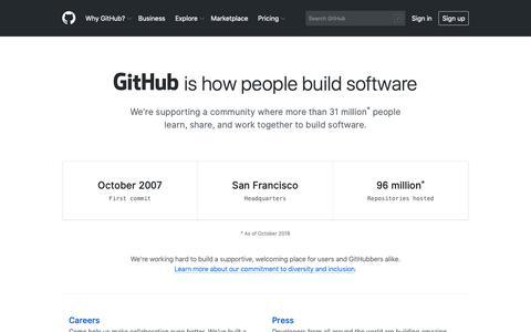 Screenshot of About Page github.com - About · GitHub - captured Nov. 19, 2018