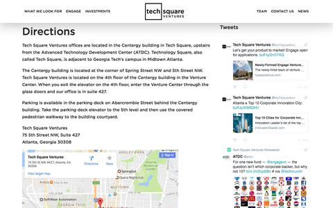Screenshot of Maps & Directions Page techsquareventures.com - Directions | Tech Square Ventures - captured June 12, 2017