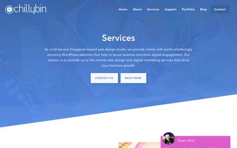 Screenshot of Services Page chillybin.com.sg - Marketing Services Singapore | Web Design & Development | ChillyBin - captured Sept. 27, 2018