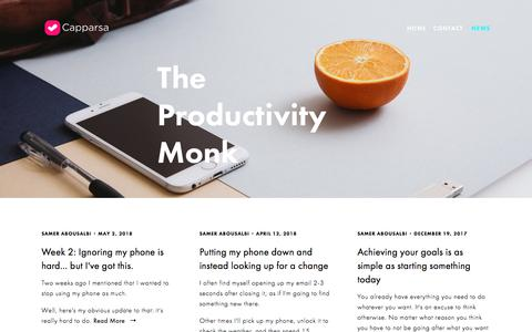 Screenshot of Blog capparsa.com - The Productivity Monk Blog - Productivity, purpose, and achieving your goals — Capparsa - Achieve Your Goals - captured July 15, 2018