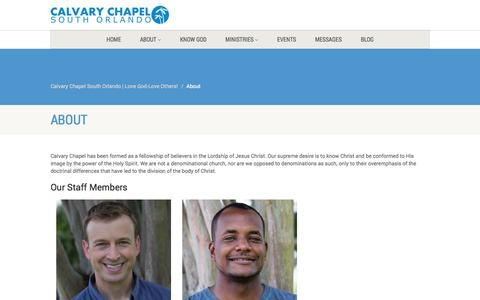 Screenshot of About Page calvaryso.com - About | Calvary Chapel South Orlando | Love God-Love Others! - captured Nov. 1, 2014