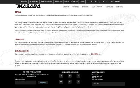 Screenshot of Privacy Page masabainc.com - Privacy - Masaba - captured Aug. 10, 2016