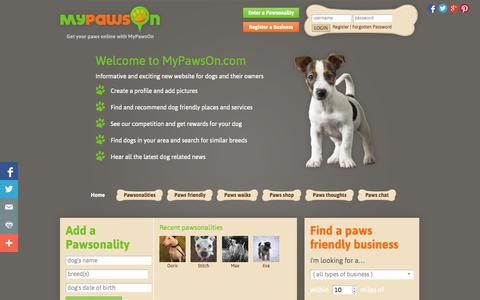 Screenshot of Home Page mypawson.com - Dog Friendly Social Network for Dog Lovers and Owners Community - MyPawsOn - captured Sept. 19, 2014