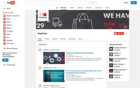 Screenshot of YouTube Page youtube.com - Feedvisor  - YouTube - captured Nov. 23, 2015