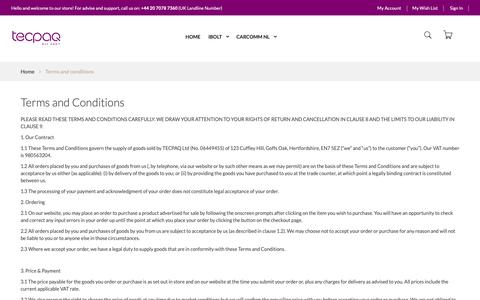 Screenshot of Terms Page tecpaq.com - Terms and conditions - captured Sept. 27, 2018